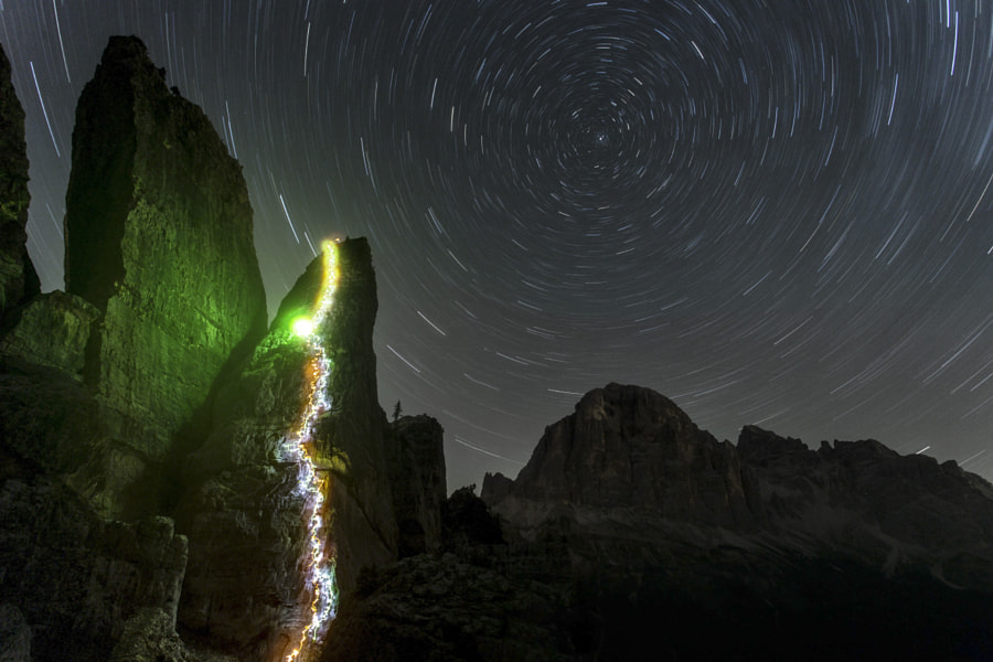 Photograph Rock climbing by night by James Rushforth on 500px