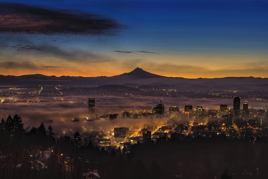 Photograph Fog Rolling in at Dawn over the city of Portland by David Gn on 500px