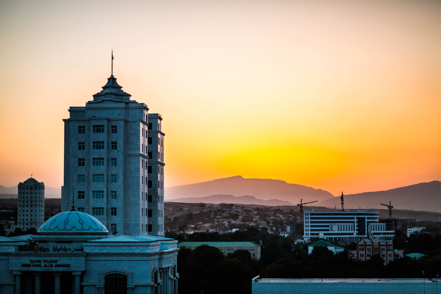 Ashgabat sunset by Andrew Robertson on 500px.com