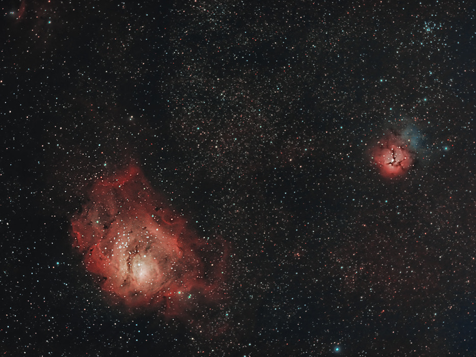 Photograph Lagoon and Trifid Nebula by Rafael Defavari on 500px