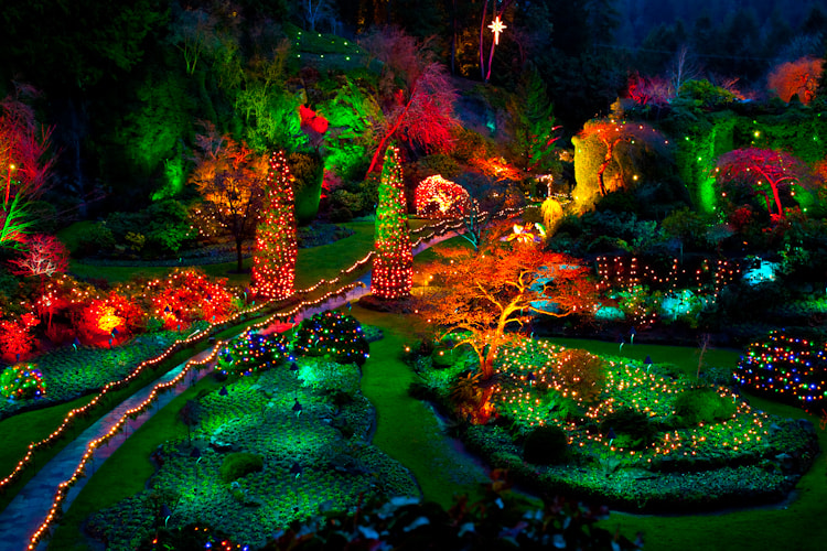 Butchart gardens at night vancouver island canada by for Jardines butchart