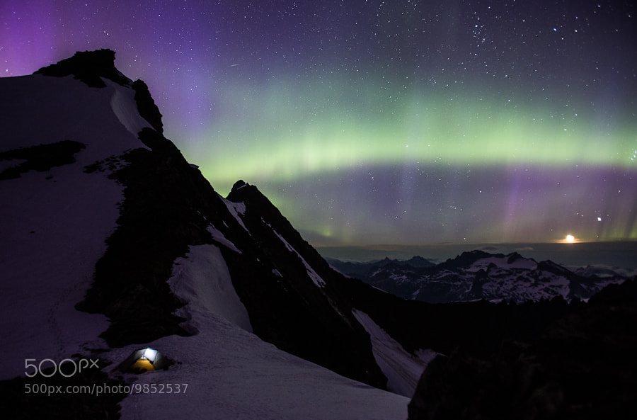Photograph Aurora borealis: North Cascades, WA. Sahale Mt. by Luke Humphrey on 500px