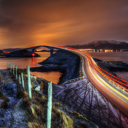 Atlantic Road at night.