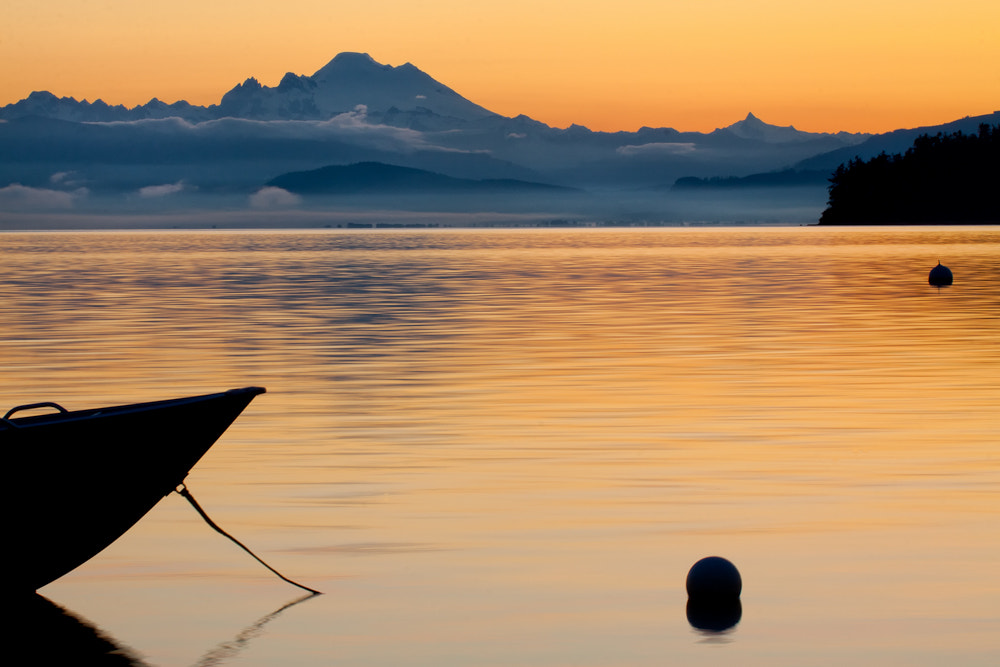Photograph Sunrise from the beach to Mt. Baker by Kevin English on 500px