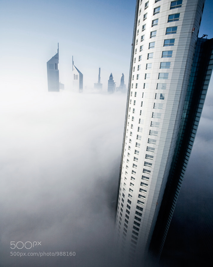 Dubai City on a misty morning.