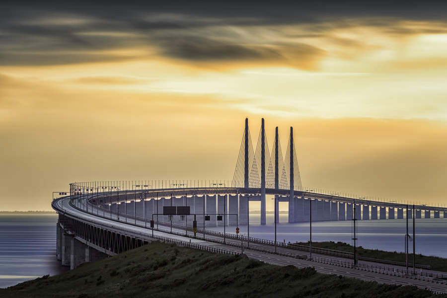 Oresundsbron Curving Sunset by Mabry Campbell on 500px.com