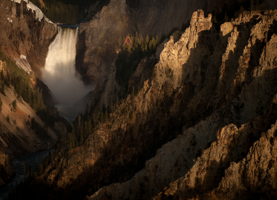 The Lower falls of the Yellowstone River.  The falls are 308 feet high.