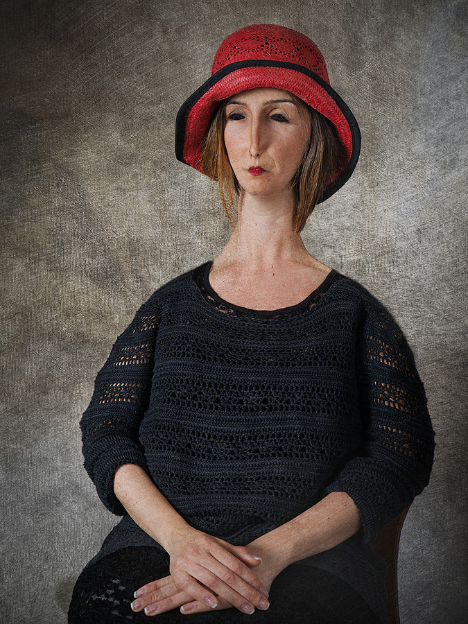 Portrait of woman with Red Hat