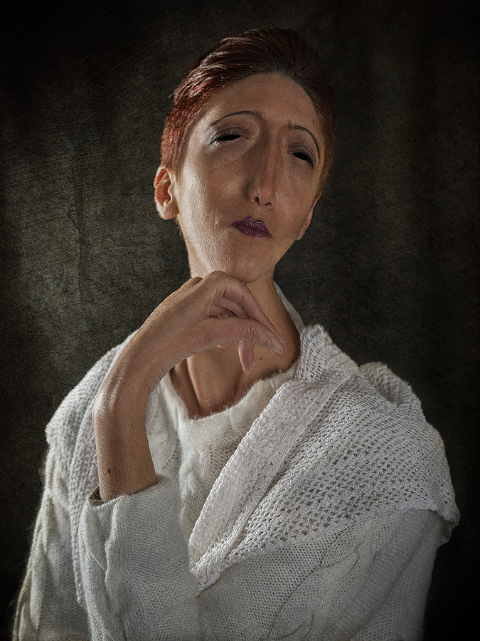 Portrait of Woman with Short Red Hair
