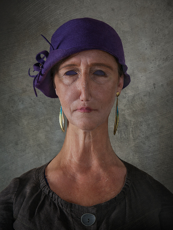 Portrait of Lady with Small Purple Hat