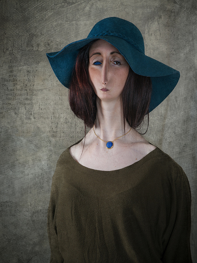 Portrait of Woman with Hat Emerald
