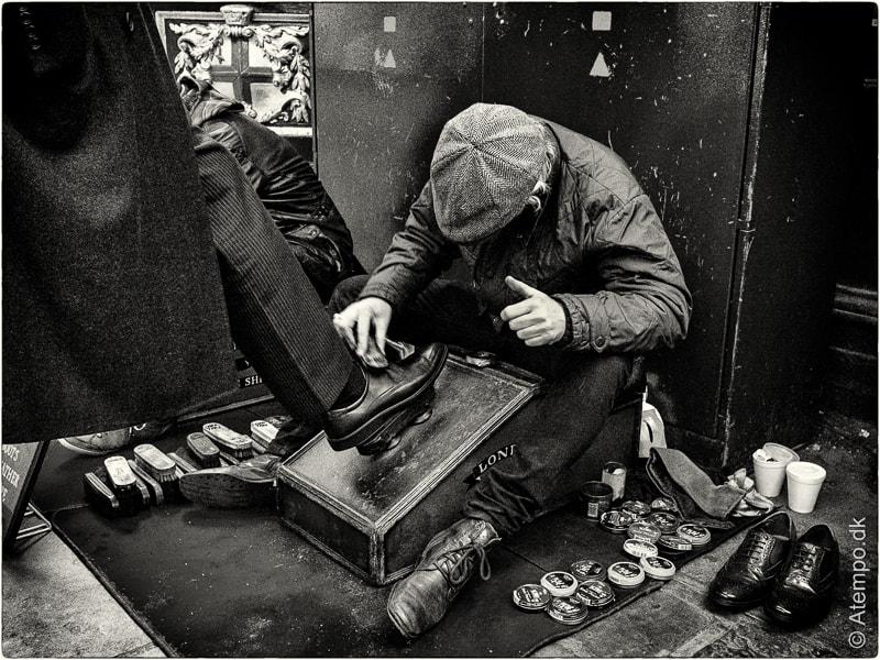 Shoeshining...