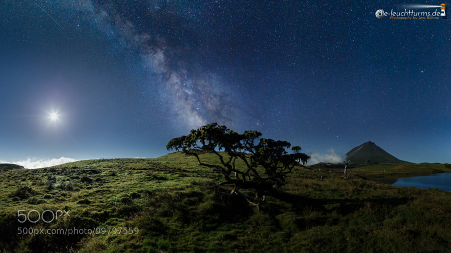 Starry night above highland of Pico island