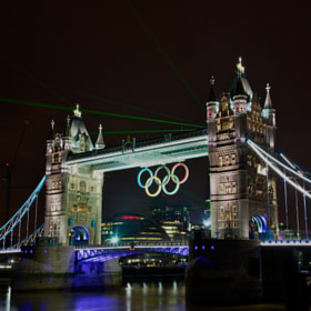 Tower Bridge in Olympic dress