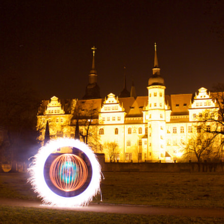 Light Art vorm Schloss